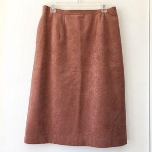 Vintage Rose Suede Midi Skirt